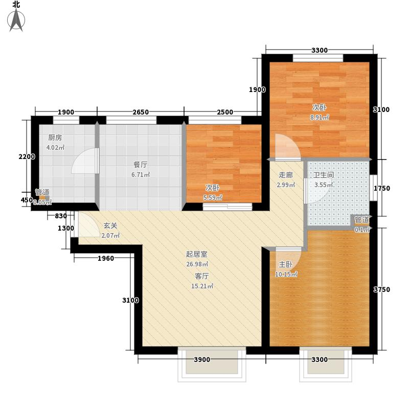 华润橡树湾90.00㎡三期小高层标准层户型
