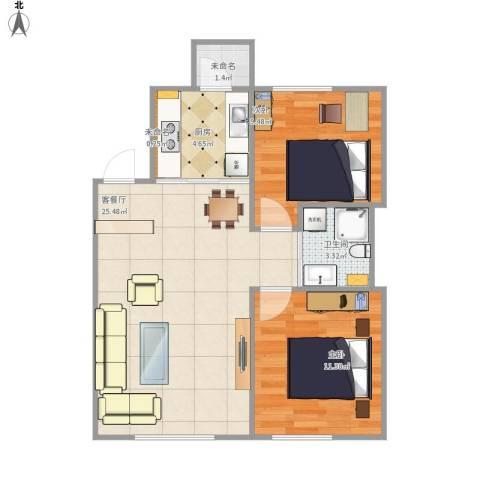 像素公园2室1厅1卫1厨76.00㎡户型图