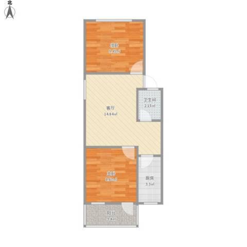 仙林新村2室1厅1卫1厨57.00㎡户型图