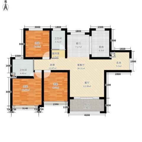 兰田首府3室1厅2卫1厨120.00㎡户型图