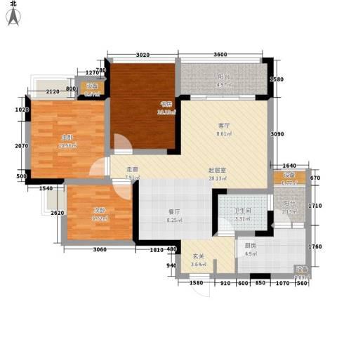 东邦城市广场3室0厅1卫1厨72.34㎡户型图