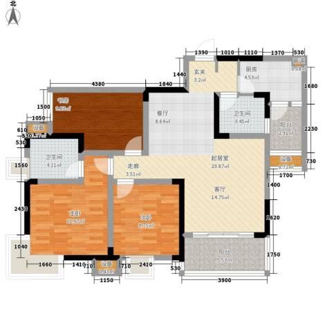东邦城市广场3室0厅2卫1厨89.00㎡户型图