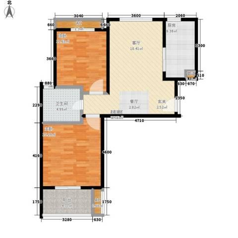 天山华庭2室0厅1卫1厨79.00㎡户型图