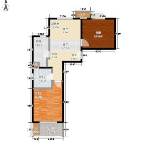 天山华庭2室0厅1卫1厨75.00㎡户型图