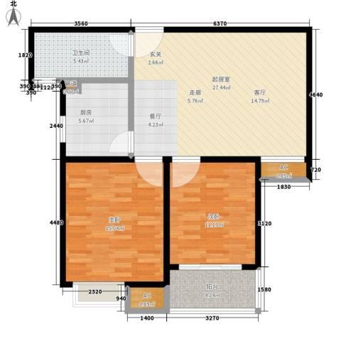 天山华庭2室0厅1卫1厨80.00㎡户型图