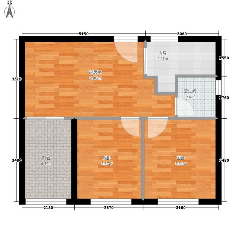 美联奥林匹克花园四期67.32㎡B户型2室1厅