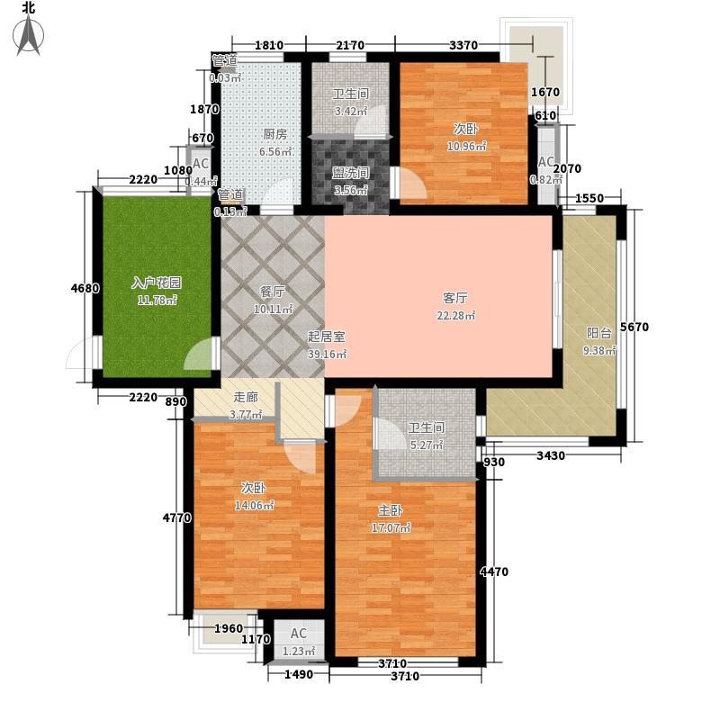 绿地国际生态城(五湖名邸)145.00㎡B2平面户型3室2厅