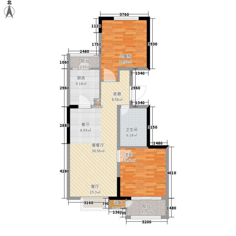 中交·阳光屿岸88.32㎡高层C1户型2室2厅