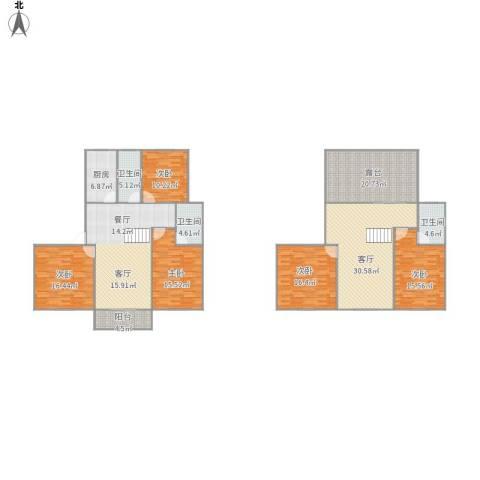 408240新庄新村5室1厅3卫1厨239.00㎡户型图