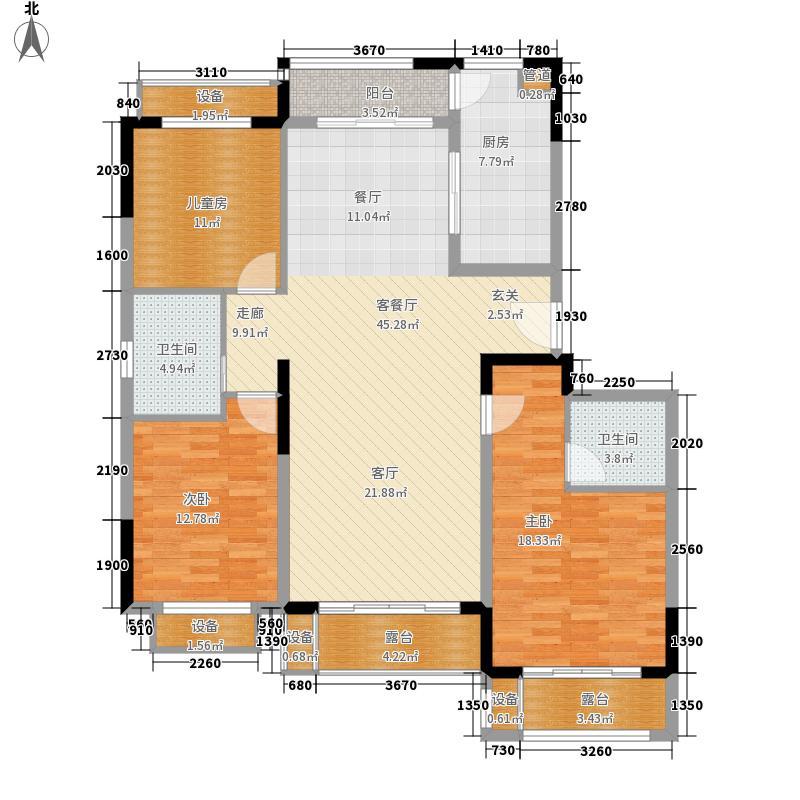 中交·阳光屿岸135.79㎡洋房F1户型3室2厅
