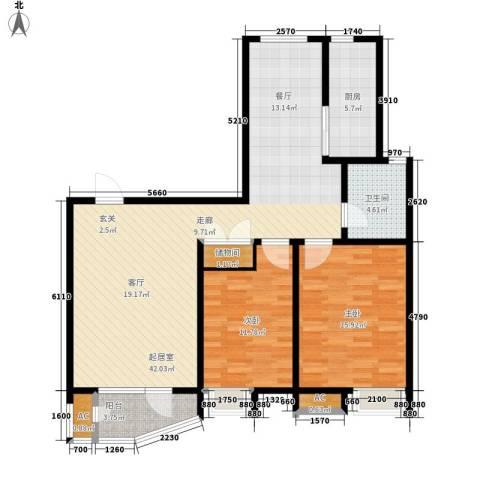 经纬城市绿洲滨海2室0厅1卫1厨119.00㎡户型图