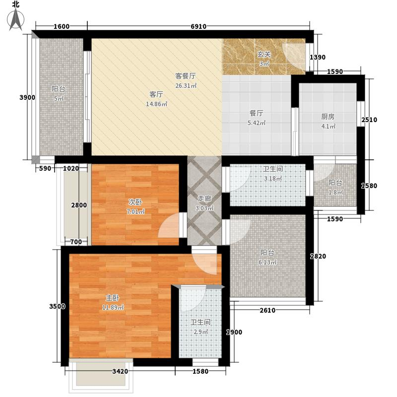 五象中央广场89.44㎡G栋202户型2室2厅