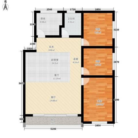 舒诗康庭3室0厅1卫1厨80.00㎡户型图