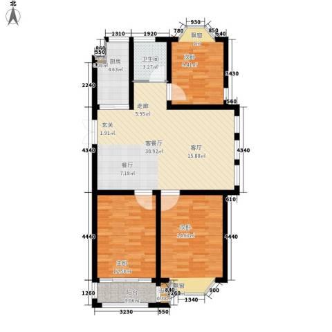 工友城莱茵小镇3室1厅1卫1厨113.00㎡户型图