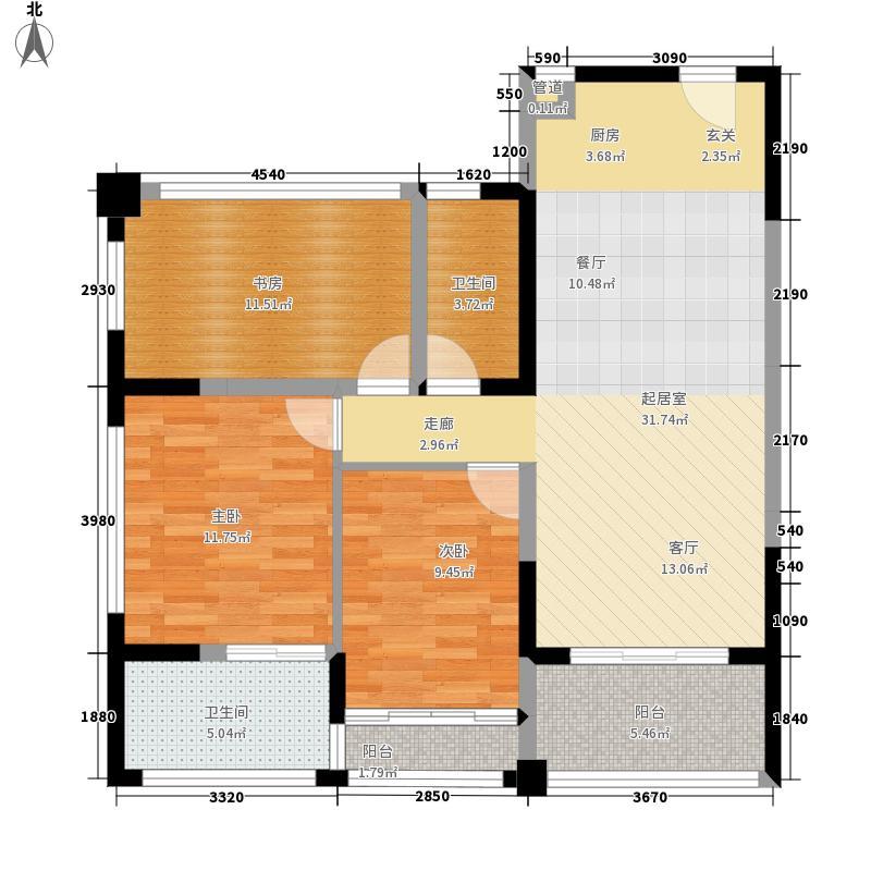 三亚领海93.00㎡二期6-A大都会户型3室2厅