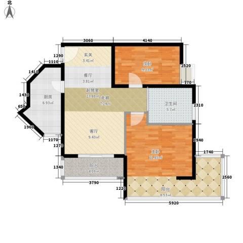 中兴财富国际公寓2室0厅1卫1厨80.30㎡户型图