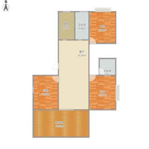 富丽名苑3室1厅2卫1厨175.00㎡户型图