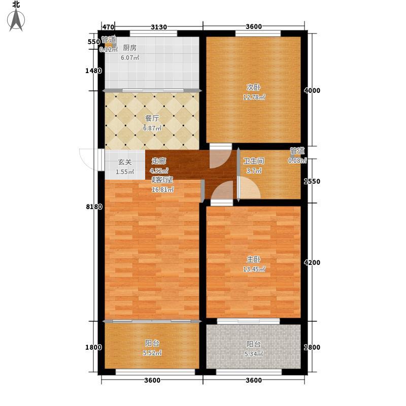 山海苑112.00㎡F户型2室2厅