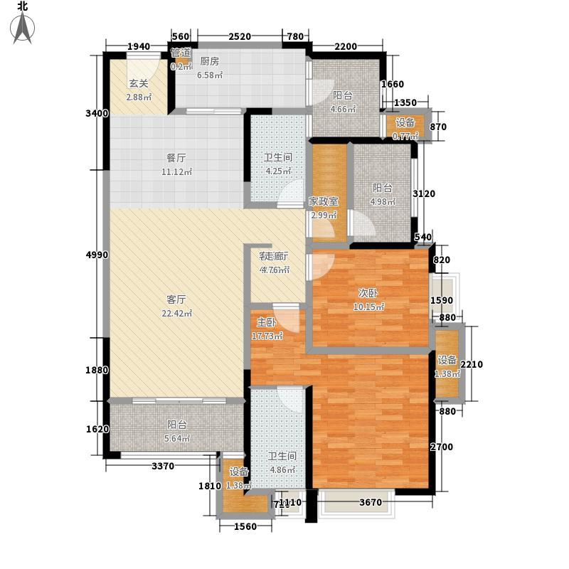紫御江山110.00㎡紫峰高层7号楼标准层C户型