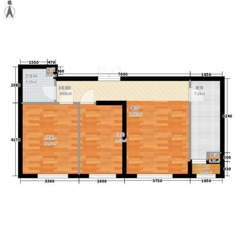 天润福熙大道2室0厅1卫1厨81.00㎡户型图