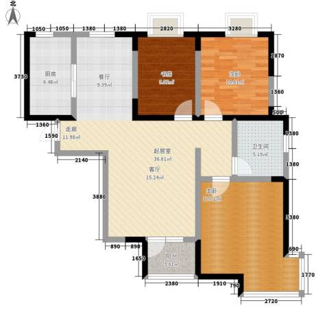 武清五一阳光3室0厅1卫1厨99.00㎡户型图