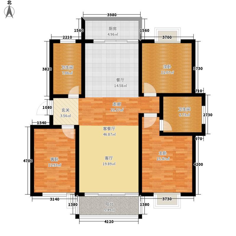 东湖星城126.97㎡丽园美宅3室2厅2卫1厨 126.97㎡户型3室2厅2卫