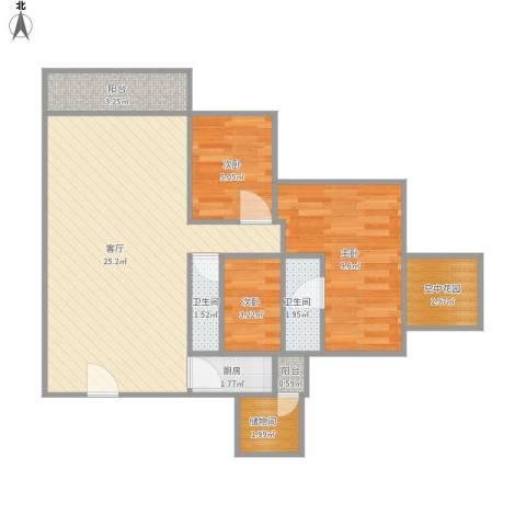 人才楼3室1厅2卫1厨79.00㎡户型图