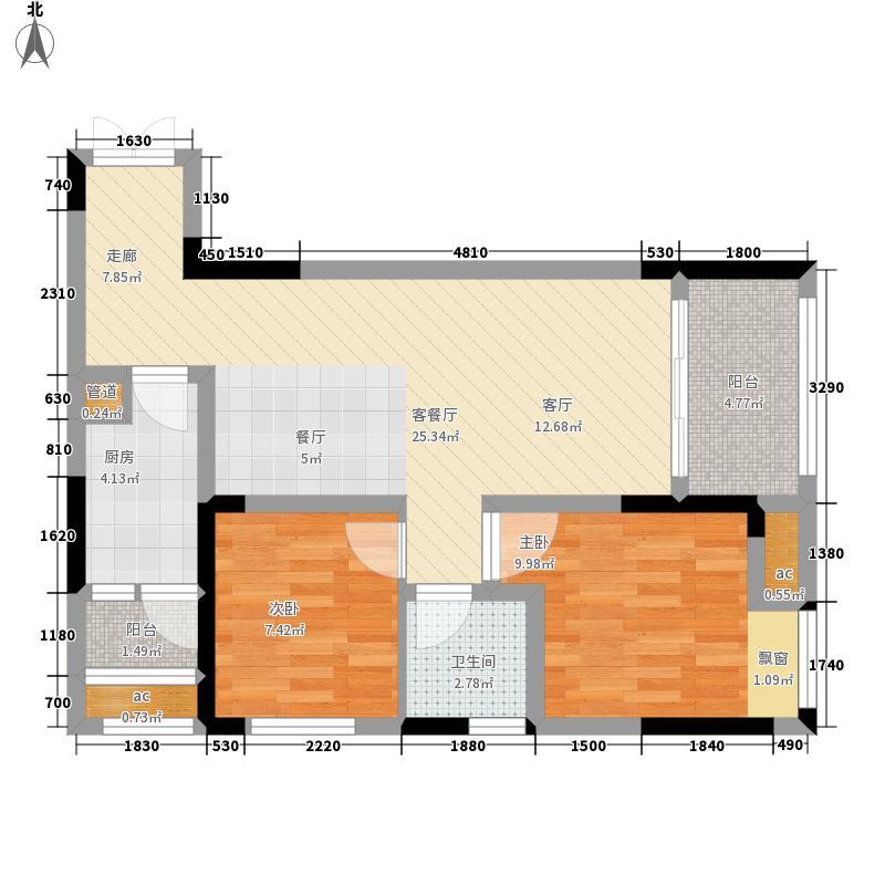 首创光和城60.00㎡一期2号楼标准层D户型