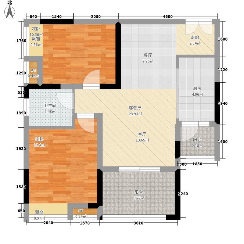 首创光和城64.00㎡一期3号楼标准层A户型