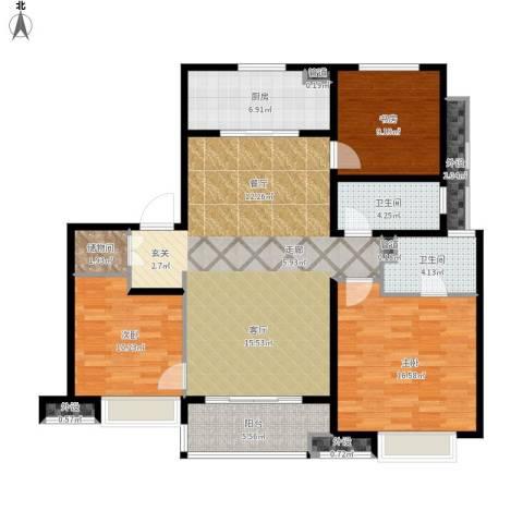 万科时一区3室1厅2卫1厨140.00㎡户型图