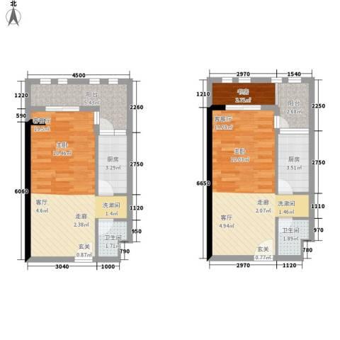 ID空间1室2厅2卫2厨60.00㎡户型图
