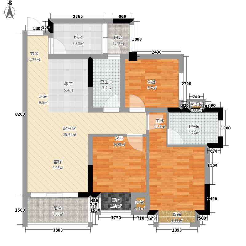 合景天峻广场87.00㎡5#楼1单元03户型3室2厅