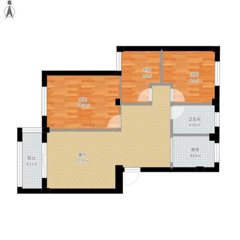 梅江西苑3室1厅1卫1厨101.00㎡户型图