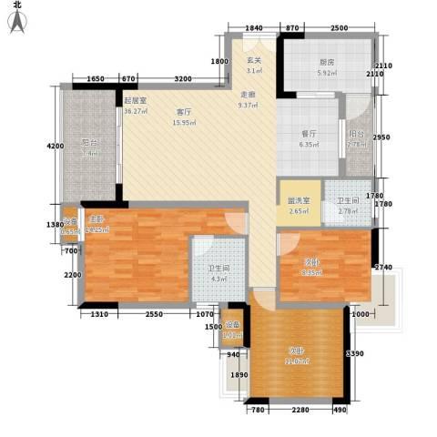 金科云湖天都3室0厅2卫1厨116.00㎡户型图