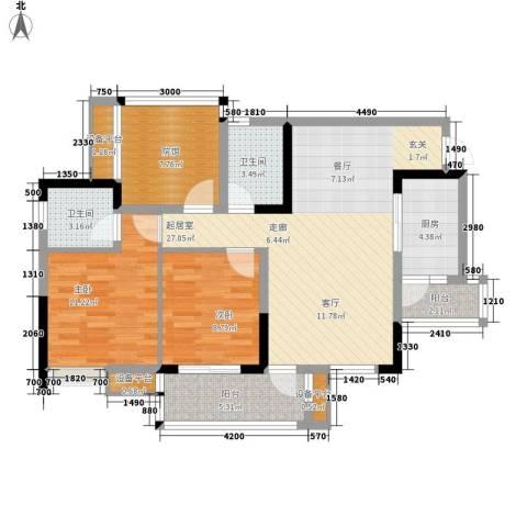 美丽泽京2室0厅2卫1厨98.00㎡户型图