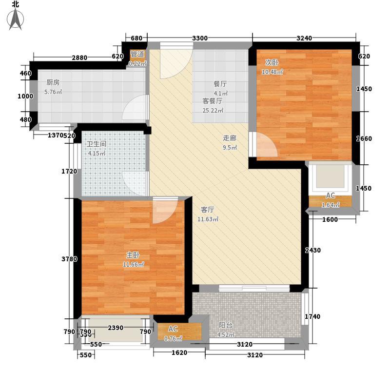 绿地中心75.00㎡B3户型2室2厅