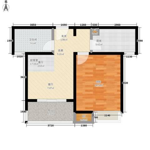 天山华庭1室0厅1卫1厨56.00㎡户型图