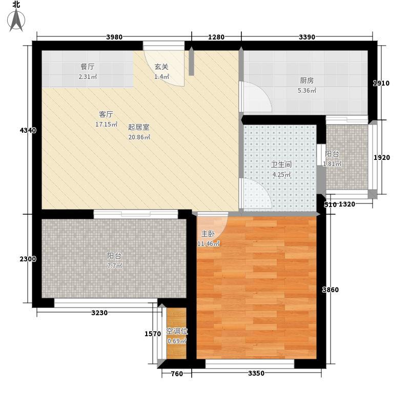 天惠仙嶺郡60.19㎡高层户型1室1厅