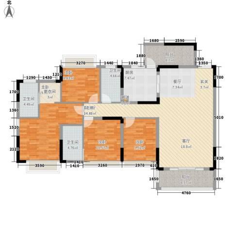 美丽湾畔花园4室1厅3卫1厨158.00㎡户型图