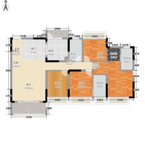 美丽湾畔花园4室1厅3卫1厨156.00㎡户型图