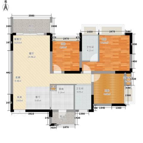 美丽湾畔花园3室1厅2卫1厨109.00㎡户型图