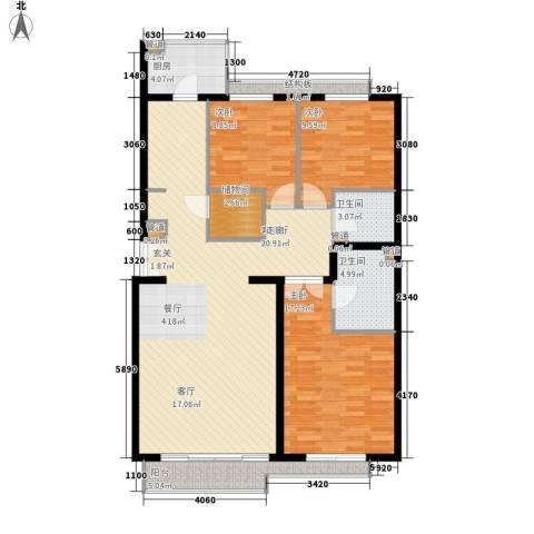 本家润园3室1厅2卫1厨124.00㎡户型图