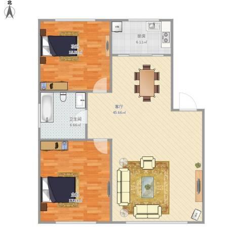 东北名苑2室1厅1卫1厨121.00㎡户型图