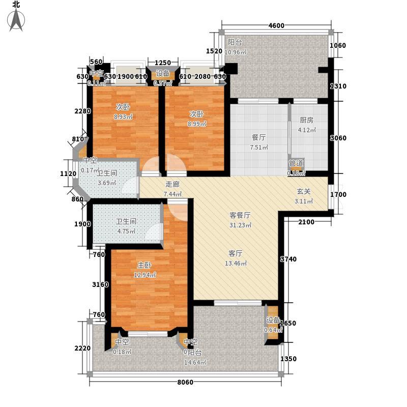 龙湖紫云台124.00㎡二期洋房平层B3户型3室2厅