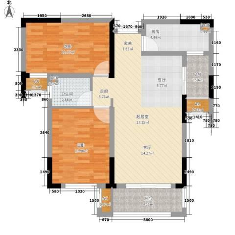 空港国际星城2室0厅1卫1厨88.00㎡户型图