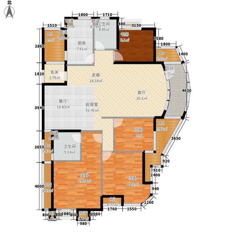翡翠城179.00㎡芦苑5号楼C户型4室2厅