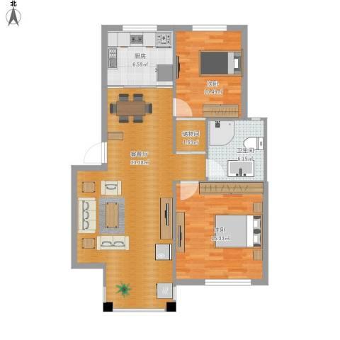 南岸花园2室1厅1卫1厨101.00㎡户型图