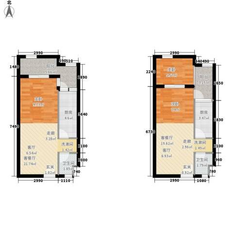 ID空间1室2厅2卫2厨67.45㎡户型图