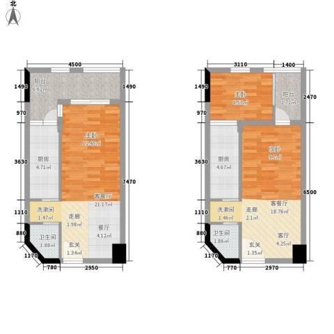 ID空间1室2厅2卫2厨68.82㎡户型图