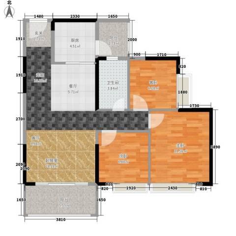 德洲城3室0厅1卫1厨88.00㎡户型图